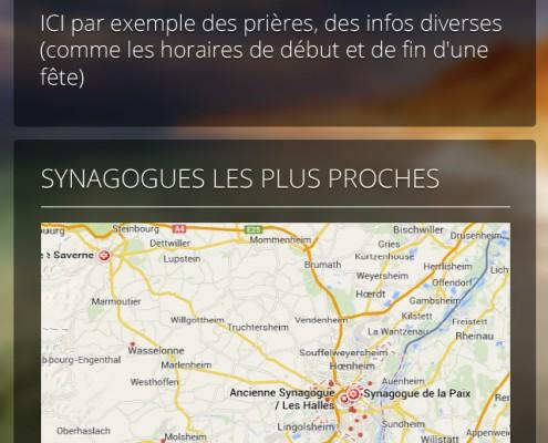 Carte synagogues application mobile Les Cigognes
