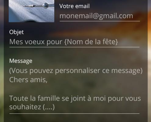 Envoi voeux application mobile Les Cigognes